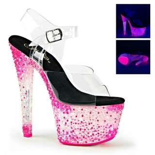 歐美明星最愛❤ 夜店女王 螢光水晶高跟鞋
