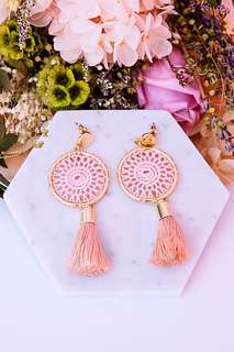 Brand New Instock Pink Drram Catcher Tassel Earrings