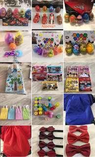 Assorted goodies bag, goody bag packages, children theme party door gift