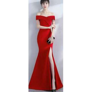 off shoulder Red evening gown