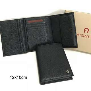 aigner small wallet Trifold black sz 12x10