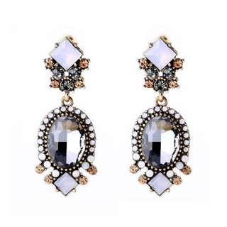 Black and White Crystal Statement Earring