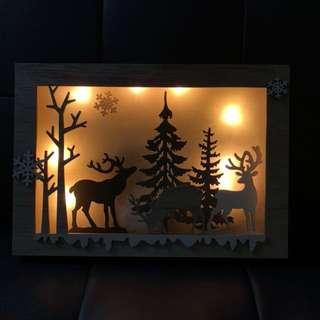 木製樹景鹿燈