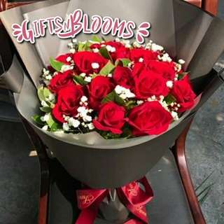 Fresh Flower Bouquet Anniversary Birthday Flower Gifts Graduation Roses Sunfowers Baby Breath -  3334C