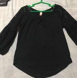 No Boundaries Black Cotton with Lace Blouse