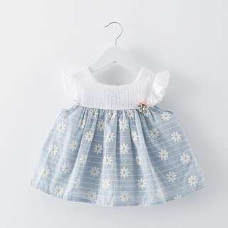 🦁Instock - blue dainty floral dress, baby infant toddler girl children sweet kid happy abcdefgh hello there