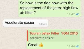 Another happy Touran Owner with the replacement of Jetex drop in high flow performance drop in air filter 99% filtration at 2.8 microns washable and reusable with the best flow rate of air filter ..