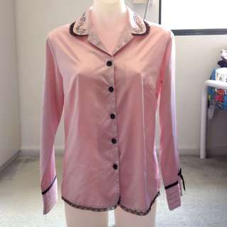 Pink and Black Satin Button Up Shirt