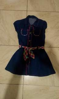 Blue Denim Dress with Belt
