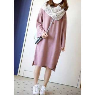 W closet 縫線設計感小寬袖長版針織洋裝 #換季五折