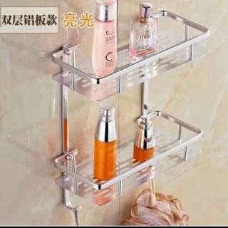 2 layer aluminum wall mounted.bathroom organizer rack