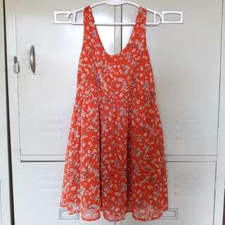 Orange Floral Dress