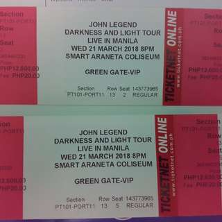 John Legend Manila Concert (2 VIP TICKETS