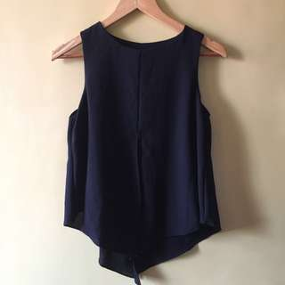 Sleeveless Black Chiffon Top