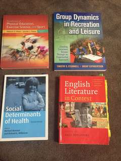 PE and English textbooks
