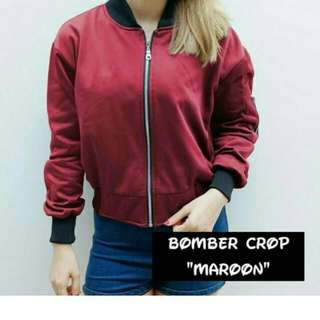 Jaket bomber crop maroon all size