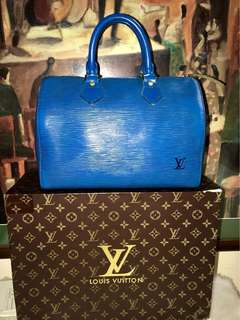 Authentic Vintage Louis Vuitton Speedy 25 Epi Leather Blue