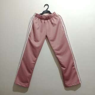 Nude pink track pants