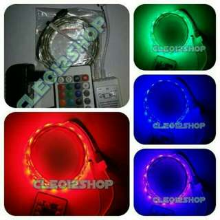 Lampu LED Strip RGB 5050 1M + Remote + Adaptor (Dekorasi)