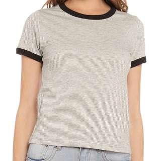 ALL ABOUT EVE SPLENDER STRIPED RINGER T-SHIRT IN GREY MARLE