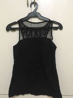 Pre-loved Plains and Prints Black Lacey Blouse
