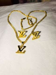 A Set Of Genuine 18ct Gold Necklace with 18ct LV Logo Pendant And 18ct LV Logo Pair Of Earrings