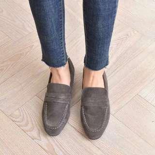 只穿一次 正韓⭕️真皮麂皮粗跟樂福鞋 24.5