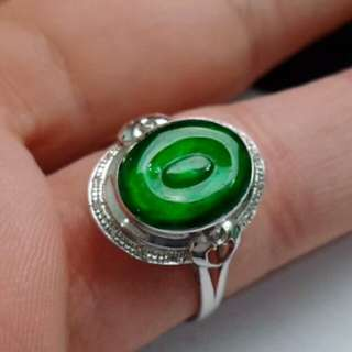 🍍18K White Gold - Grade A Icy Green Cabochon Jadeite Jade Ring🍍