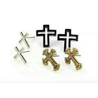 外貿三色十字架耳環套件