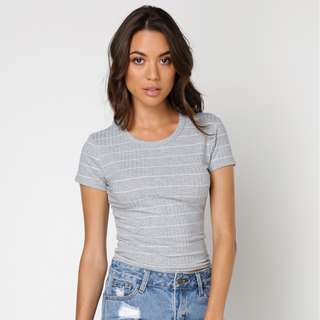 ALL ABOUT EVE CLEO T-SHIRT IN GREY MARLE & WHITE