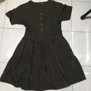 Dress warna hijau army cotton