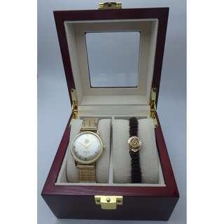 60's ELGIN 10k(實金)+23J 男裝上練錶+ 10k(實金) pin American Saint Gobain 10k 套裝 w/ gift box