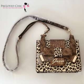 Guess Laurita Top Zip Animal Print Bag - brand new