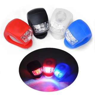 PHOEBE'S 2 LED SILICONE BIKE FRONT SAFETY REAR LIGHTS CLIP