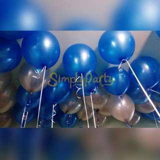 PEARL DEEP BLUE AND SILVER HELIUM BALLOON
