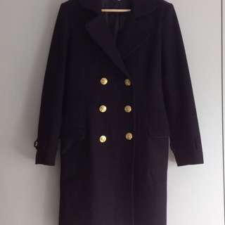 Black Wool Tailored Coat