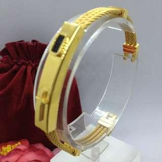 Authentic Bangkok Gold 10k Saudi Gold Keep The Faith Bracelet Bangle Three Row Wire Holy Cross Religious Bangle white Gold Unisex Bracelet Non Tarnish (Not Pawnable)