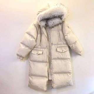 #換季五折 原4990 米白色 有帽 澎毛毛 長版大衣外套
