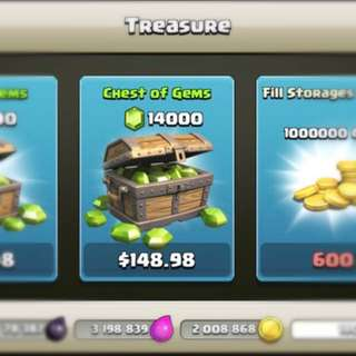 Clash of clans and Clash Royale Gems on offer
