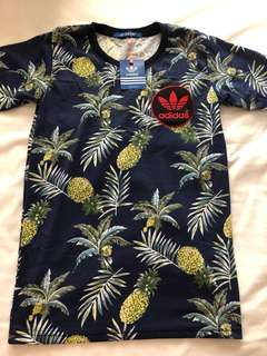 Adidas Replica Summer Tropical Printed Design Navy Blue Ladies T-Shirt - S Size