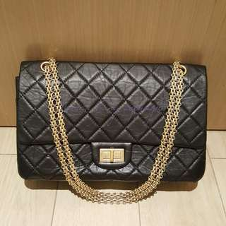 Chanel 99%new black aged calfskin 2.55 jumbo