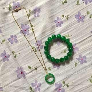 Jade Pendant/Ring & Bracelet Set