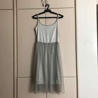 TOPSHOP Silver/Gray Prom Dress (w/ Tulle)