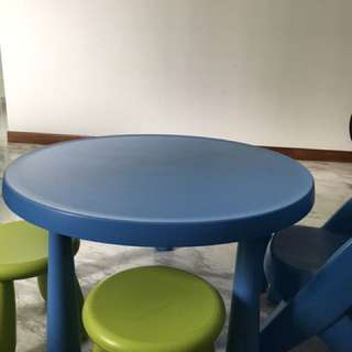Kids IKEA table and stools and Step2 chairs