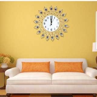 Luxury diamond large clocks metal living room wall clocks