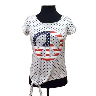 New:Cache Cache white polka dots top