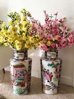 Large Pair Vintage Vases
