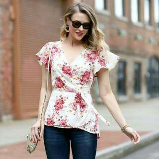 🍃White Floral Wrap Formal Top