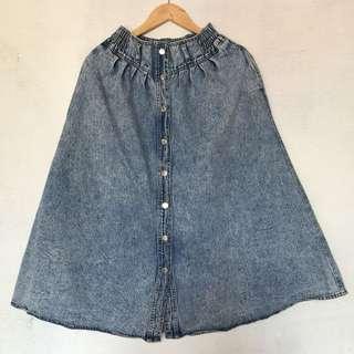 High Waist Button up Denim Skirt long