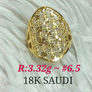 18K SAUDI GOLD WOMEN'S RING ';/.,